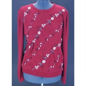 Alfred Dunner Floral Embroidered Beaded Sweater
